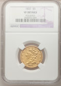 Classic Half Eagles: , 1837 $5 --Polished--NGC Details. VF. NGC Census: (1/381). PCGSPopulation (3/176). Mintage: 207,121. Numismedia Wsl. Price f...