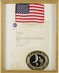 """Autographs:Celebrities, U.S. Flag Carried to the Moon on Apollo 14! A 6"""" x 3.75"""" U.S. flag, a letter, and the Apollo 14 patch have been affixed to a... (Total: 1 Item)"""