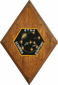 "Autographs:Celebrities, Gemini 6 Space-Flown Patch, 2"" hexagon-shaped, affixed to a 6""diamond-shaped wooden mount, covered in clear plastic. Accomp...(Total: 1 Item)"