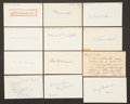 Baseball Collectibles:Others, 1908 Major League Baseball Debut Year Signed Index Cards andGovernment Postcards Lot of 27....