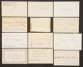 Baseball Collectibles:Others, 1881-99 Major League Baseball Debut Year Signed Index Cards and Government Postcards Lot of 18....