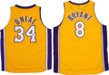 Basketball Collectibles:Uniforms, Shaquille O'Neal Signed Jersey and Unsigned Kobe Bryant Jersey....