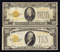 Small Size:Gold Certificates, $10 and $20 Golds.. ... (Total: 2 notes)