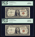 Small Size:World War II Emergency Notes, Pair of Elusive Fr. 2300 $1 1935A Hawaii Silver Certificates. PCGS About New 53PPQ and Extremely Fine 45PPQ.. ... (Total: 2 notes)