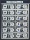 Small Size:Silver Certificates, Fr. 1604 $1 1928D Silver Certificates. Uncut Sheet of Twelve. PMG Gem Uncirculated 66 EPQ.. ...