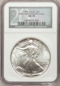 Modern Bullion Coins, 1990 $1 Silver Eagle MS70 NGC. Ex: 20th Anniversary Collection. NGCCensus: (191). PCGS Population (0). Mintage: 5,840,210....