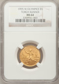 Modern Issues: , 1995-W G$5 Olympic/Torch Runner Gold Five Dollar MS64 NGC. NGCCensus: (2/856). PCGS Population (0/1446). Numismedia Wsl. ...
