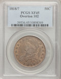 Bust Half Dollars: , 1818/7 50C Small 8 XF45 PCGS. O-102. PCGS Population (23/62). NGCCensus: (30/154). (#6114)...