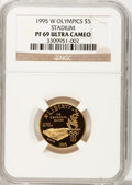 Modern Issues: , 1995-W G$5 Olympic/Stadium Gold Five Dollar PR69 Ultra Cameo NGC.NGC Census: (13/0). PCGS Population (1755/139). Numismed...