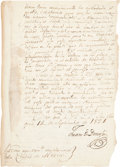 "Autographs:Non-American, Juan O'Donojú Manuscript Letter Signed as the Last Spanish Ruler ofMexico. Two pages, 8"" x 12"", San Joaquin, September 14, ..."