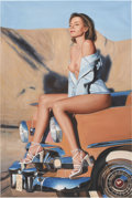 Pin-up and Glamour Art, JIANG NAN (Chinese, 20th Century). Pin-Up on Car. Oil oncanvas. 36 x 24 in.. Not signed. ...