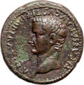 Ancients:Roman Imperial, Ancients: Tiberius as Caesar (AD 4-14). Orichalcum sestertius(25.51 gm). ...
