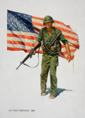 Pulp, Pulp-like, Digests, and Paperback Art, NORM EASTMAN (American, b. 1931). Vietnam-Perkasie, bookcover, 1985. Tempera and gouache on board. 39 x 29 in.. Signed...