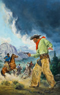 Pulp, Pulp-like, Digests, and Paperback Art, NORM EASTMAN (American, b. 1931). Squaw Mountain Massacre, bookcover, July 1985. Oil and gouache on board. 39 x 29 in....(Total: 2 )
