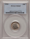 Barber Dimes: , 1901 10C MS65 PCGS. PCGS Population (32/14). NGC Census: (27/10). Mintage: 18,860,478. Numismedia Wsl. Price for problem fr...