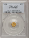 California Fractional Gold, 1852 25C Indian Round 25 Cents, BG-891, Low R.5, MS65 PCGS....