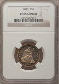 Proof Seated Quarters, 1889 25C PR65 Cameo NGC....