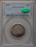 Seated Quarters, 1869 25C XF40 PCGS. CAC....