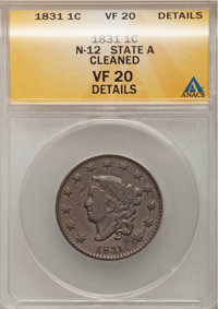 1831 1C Large Letters--Cleaned--ANACS. VF20 Details. N-12. NGC Census: (2/182). PCGS Population (3/140). Mintage: 3,359...