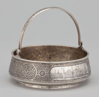 A RUSSIAN SILVER AND NIELLO BASKET WITH SWING HANDLE Maker unidentified, Moscow, Russia, circa 1874 Marks: