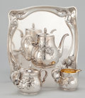 Silver Holloware, American:Tea Sets, AN AMERICAN THREE-PIECE SILVER AND SILVER GILT TEA SERVICE WITHTRAY, THISTLE DESIGN . Whiting Manufacturing Company, New Y...(Total: 5 Items)