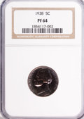 Proof Jefferson Nickels: , 1938 5C PR64 NGC. NGC Census: (145/872). PCGS Population(457/1684). Mintage: 19,365. Numismedia Wsl. Price for problemfre...