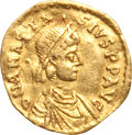 Ancients:Byzantine, Ancients: Anastasius (AD 491-518) and Justinian I (AD 527-565). Lotof two AV fractions.... (Total: 2 coins)
