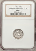 Seated Dimes: , 1852 10C XF45 NGC. Ex:Jules Reiver Collection. NGC Census: (2/76).PCGS Population (1/99). Mintage: 1,535,500. Numismedia W...