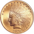 Indian Eagles, 1908 $10 Motto MS67 NGC. ...