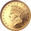 Proof Gold Dollars, 1864 G$1 PR64 Cameo NGC. CAC....