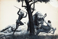 Pulp, Pulp-like, Digests, and Paperback Art, MORT KÜNSTLER (American, b. 1931). Zulu Rescue From theRhinos, 1956. Gouache on illustration board. 20 x 30 in..Signed...