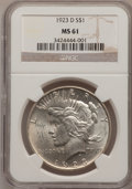 Peace Dollars: , 1923-D $1 MS61 NGC. NGC Census: (143/2284). PCGS Population(112/3558). Mintage: 6,811,000. Numismedia Wsl. Price for probl...