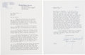 """Autographs:U.S. Presidents, [Kennedy Assassination]. Ralph Yarborough Typed Letter Signed. Two pages, 8"""" x 10.5"""", Washington, D.C., July 13, 1964, on Un..."""