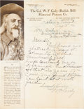 """Autographs:Celebrities, William F. """"Buffalo Bill"""" Cody Autograph Letter Signed """"W. F.Cody."""" One page, 8.5"""" x 11"""", Helena, Montana, August 5, 19..."""
