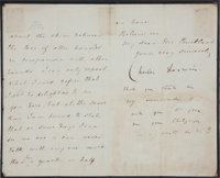 """Charles Darwin Letter Signed with a postscript in Darwin's hand. Three pages, 5"""" x 8"""", """"Down. Bromley. Ke..."""