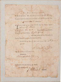 """George Washington Continental Army Discharge Signed """"G:Washington"""" and countersigned by Jonathan Trumbull"""