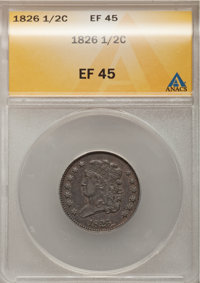 1826 1/2 C XF45 ANACS. NGC Census: (17/328). PCGS Population (29/149). Mintage: 234,000. Numismedia Wsl. Price for probl...