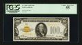 Small Size:Gold Certificates, Fr. 2405 $100 1928 Gold Certificate. PCGS Choice About New 55.. ...