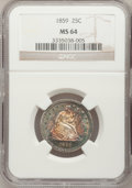 Seated Quarters, 1859 25C MS64 NGC....