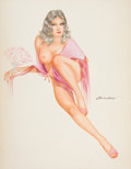 Pin-up and Glamour Art, JOSEPH F. DE MARTINI (American, b. 1927). Nude Pin-Up.Watercolor and gouache on board. 25.5 x 20 in.. Signed centerrig...