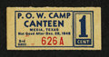 Military Payment Certificates:Series 701, Mexia, Texas P.O.W Camp Canteen 1¢ Campbell 8331.. ...