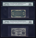 Fractional Currency:Third Issue, Fr. 1272SP 15¢ Third Issue Narrow Margin Pair PMG About Uncirculated 53 and 55.. ... (Total: 2 notes)