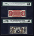 Fractional Currency:Third Issue, Fr. 1328SP 50c Third Issue Spinner Narrow Margin Pair PMG Choice Uncirculated 64. ... (Total: 2 notes)