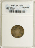 Early Dimes: , 1803 10C --Bent--ANACS. AG3 Details. JR.3. NGC Census: (0/42). PCGSPopulation (4/29). Mintage: 33,040. Numismedia Wsl. Pric...