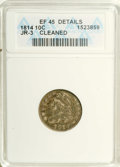 Bust Dimes: , 1814 10C Large Date--Cleaned--ANACS. XF45 Details. JR-3. NGCCensus: (5/127). PCGS Population (2/85). Mintage: 421,500. Num...