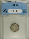 Bust Dimes: , 1832 10C XF40 ANACS. NGC Census: (3/211). PCGS Population (10/211).Mintage: 522,500. Numismedia Wsl. Price: $200. (#4521)...