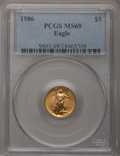 Modern Bullion Coins: , 1986 G$5 Tenth-Ounce Gold Eagle MS69 PCGS. PCGS Population(2321/25). NGC Census: (6605/314). Mintage: 912,609. Numismedia ...