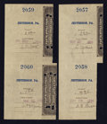 Jefferson, PA- Postal Note Type V Two Consecutively Serial Numbered Pairs of Attached Receipts- $3.92 May 22, 1894/$4