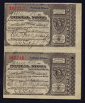Miscellaneous:Other, Portland, OR- Postal Notes Type V Uncut Pair 1¢ June 21, 1894. ...