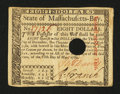 Colonial Notes:Massachusetts, Massachusetts May 5, 1780 $8 Extremely Fine.. ...